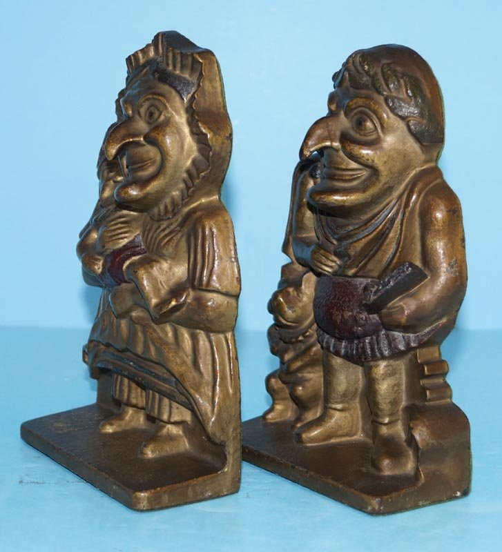 Antique Punch & Judy Cast Iron Bookends - 5