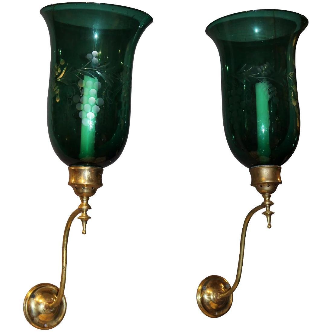 Rare Pair of 19th Century Emerald Etched Glass and