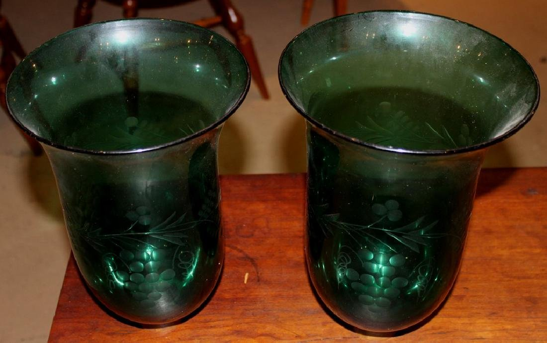 Rare Pair of 19th Century Emerald Etched Glass and - 5