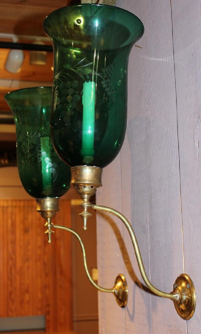 Rare Pair of 19th Century Emerald Etched Glass and - 9