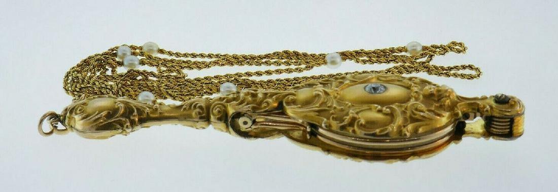 Victorian 14k Yellow Gold Folding Lorgnette Glasses - 3