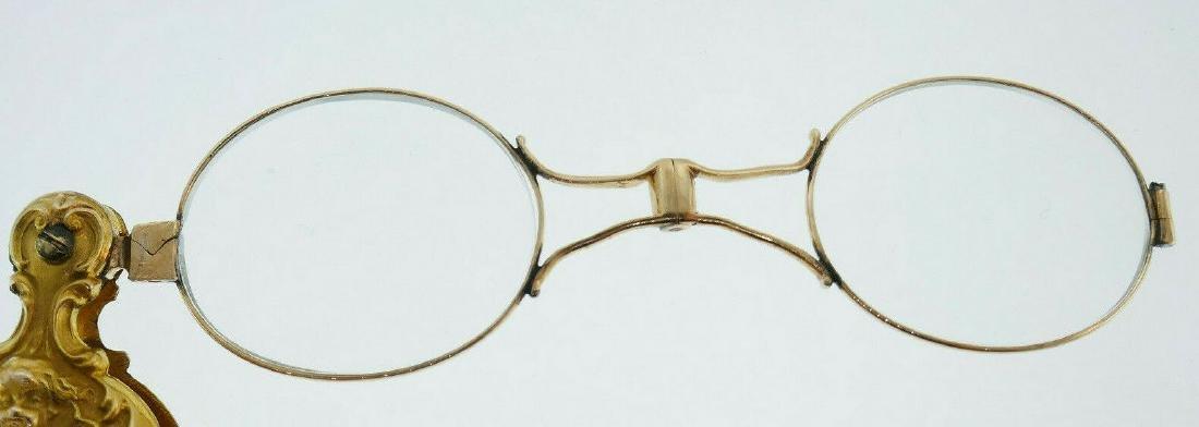Victorian 14k Yellow Gold Folding Lorgnette Glasses - 6