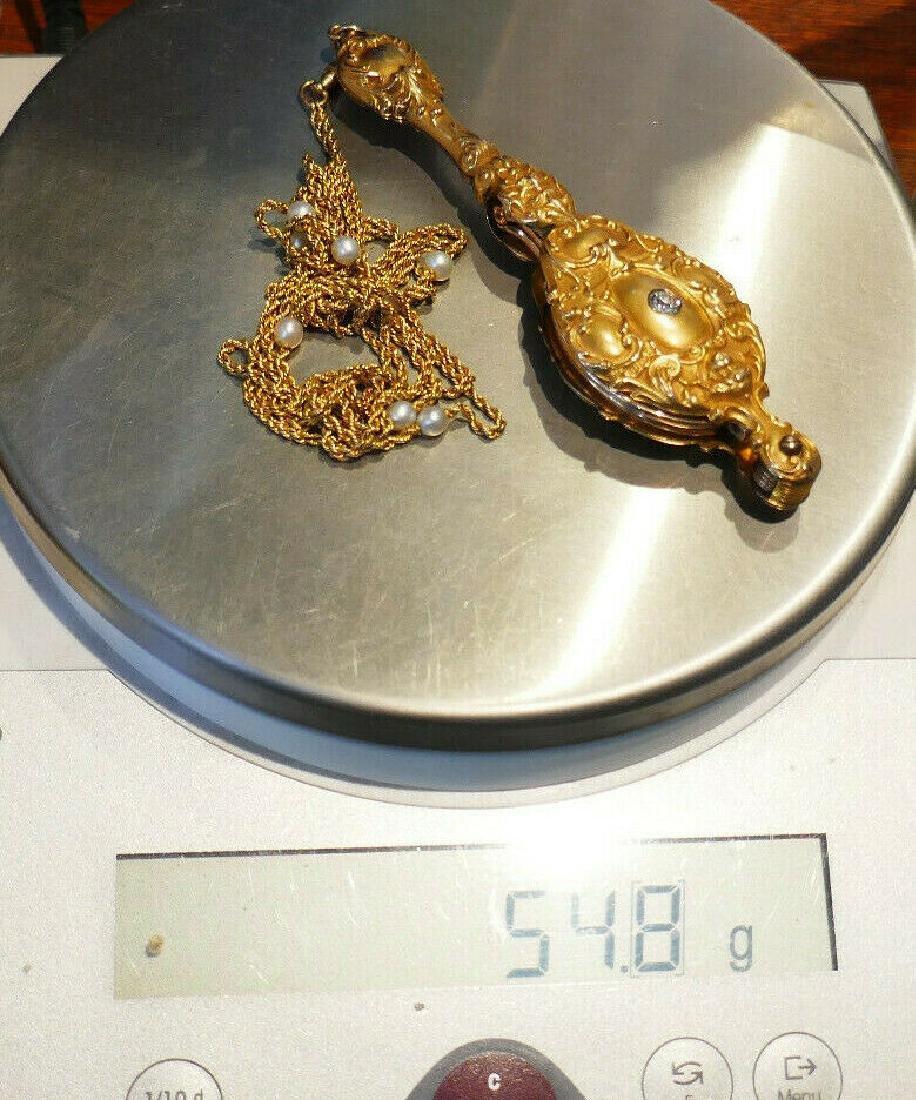 Victorian 14k Yellow Gold Folding Lorgnette Glasses - 7