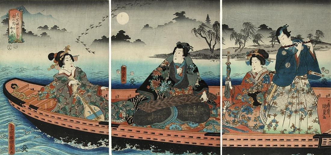 Utagawa KUNISADA II (1823-80): Prince Genji: Boat trip