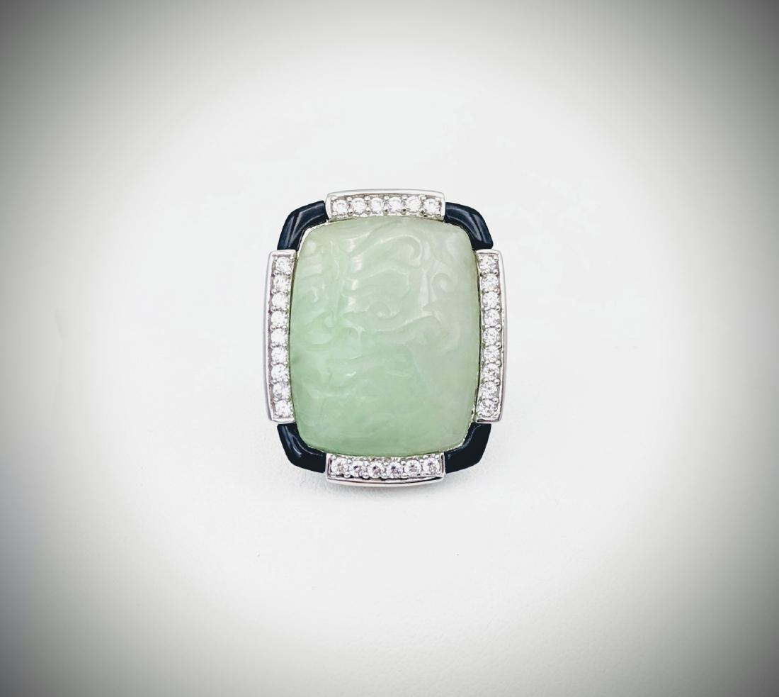 925 SS Sz 7 Engraved Jade Cocktail Ring w CZs & Black