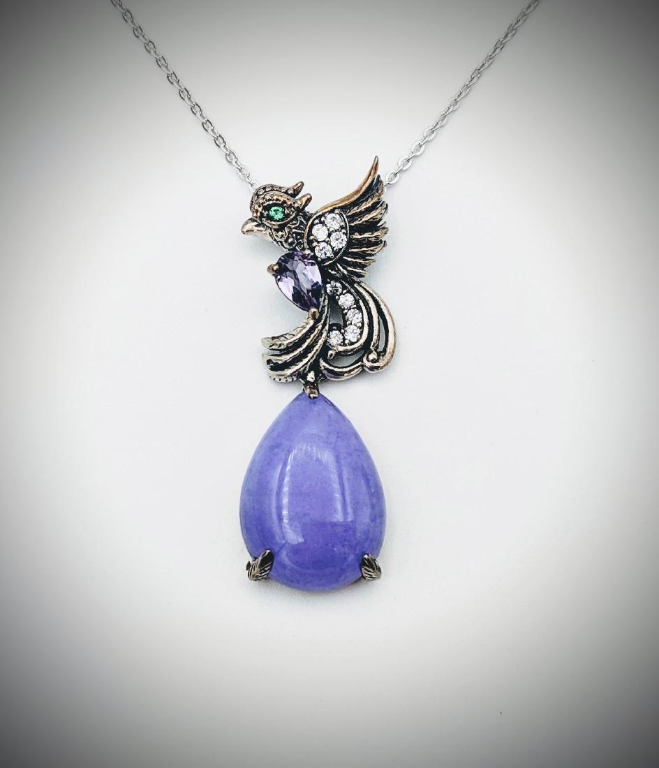 Necklace & Peacock Pendant w Violet Jade, Demantoid