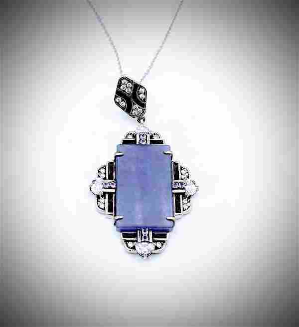 Necklace and Pendant w Violet Jade, Amethyst, CZs &