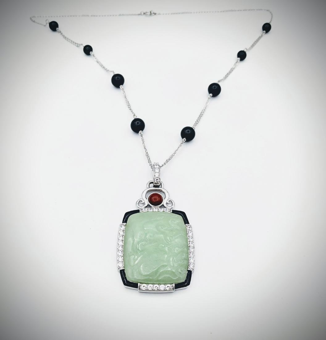 Necklace w Black Faceted Beads, Jade Engraved Cocktail