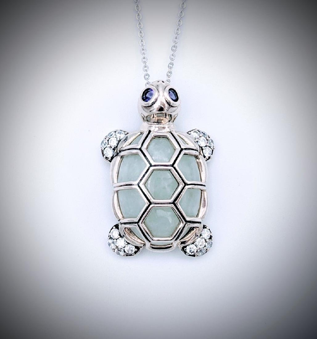 Sterling Silver Necklace and Turtle Pendant w Jade,