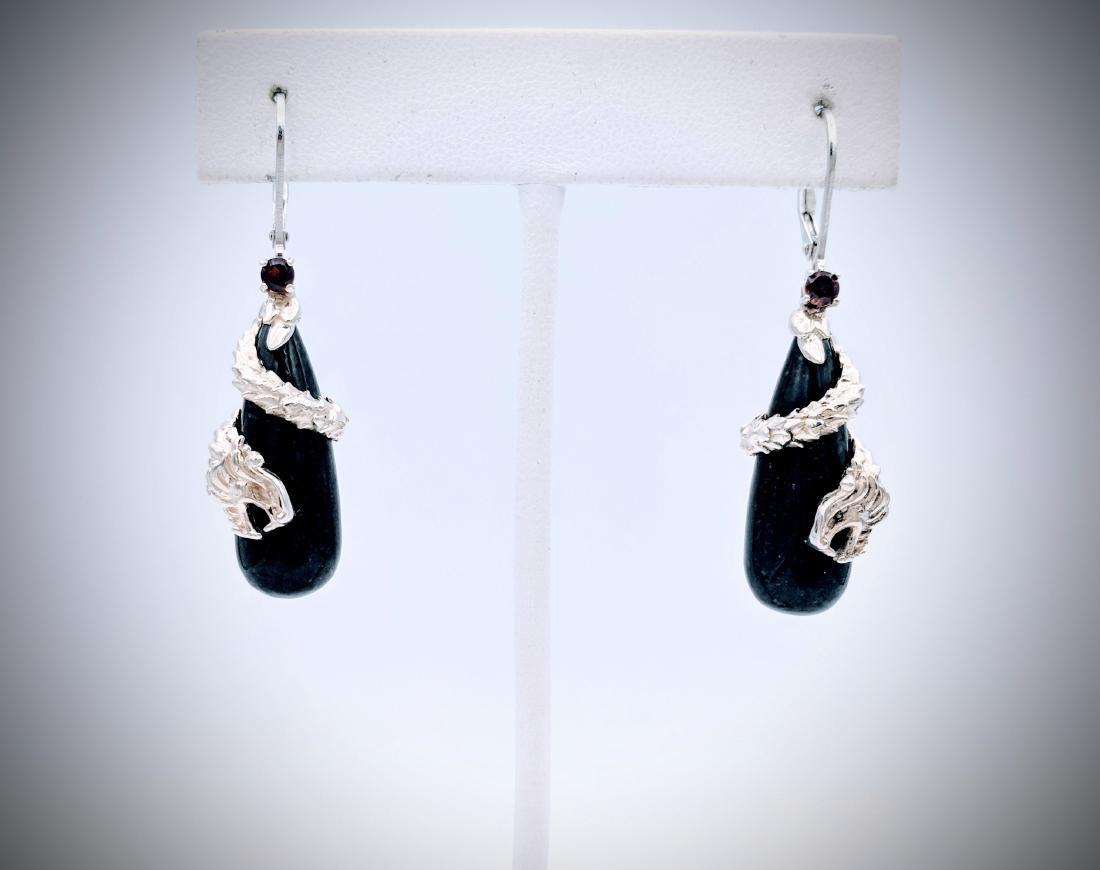 Sterling Silver Nuumite Dragon Earrings w Red Garnet