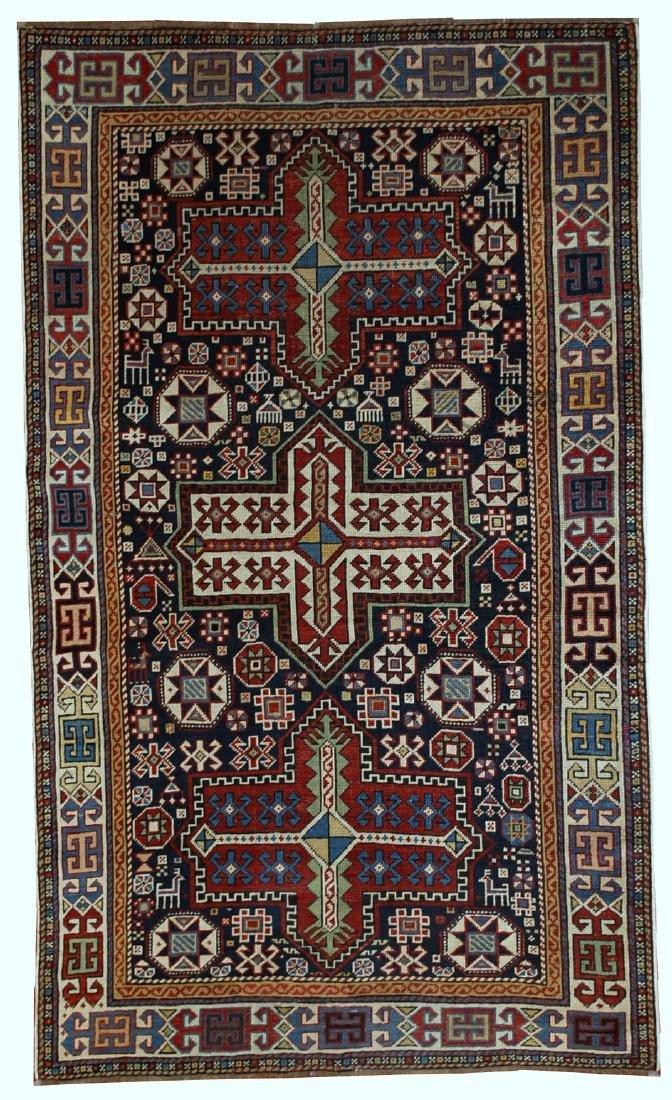 Handmade antique Caucasian Akstafa rug 3.6' x 5.6' (