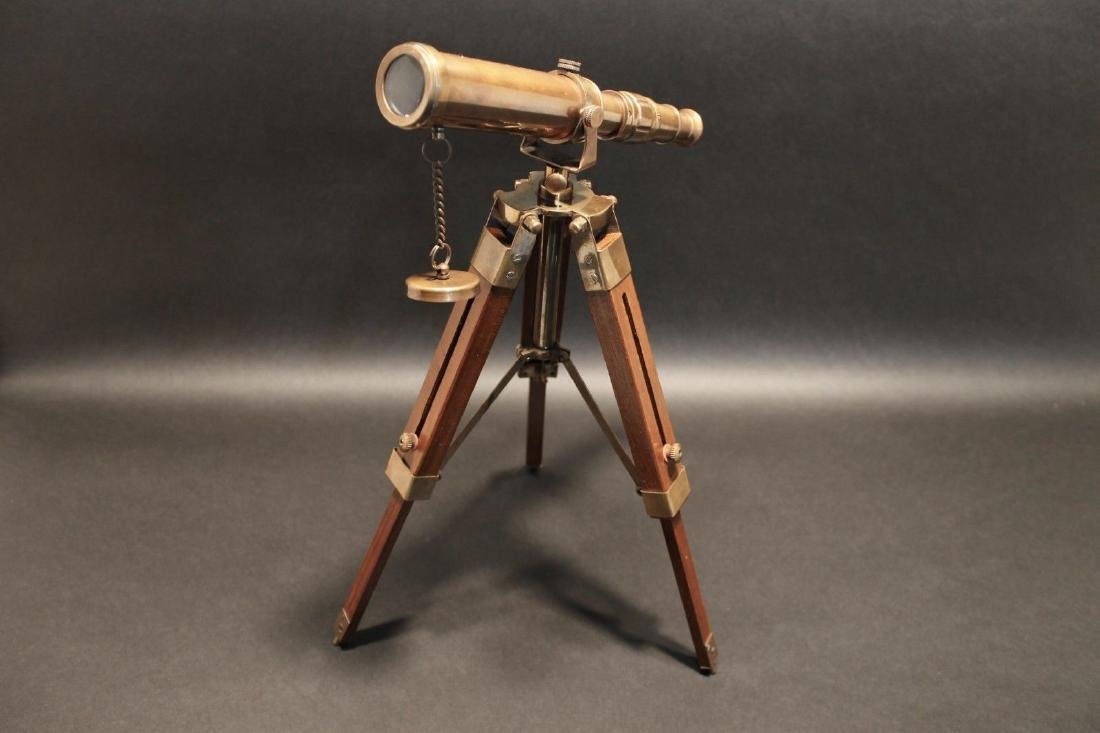 Solid Brass Telescope & Wood Tripod