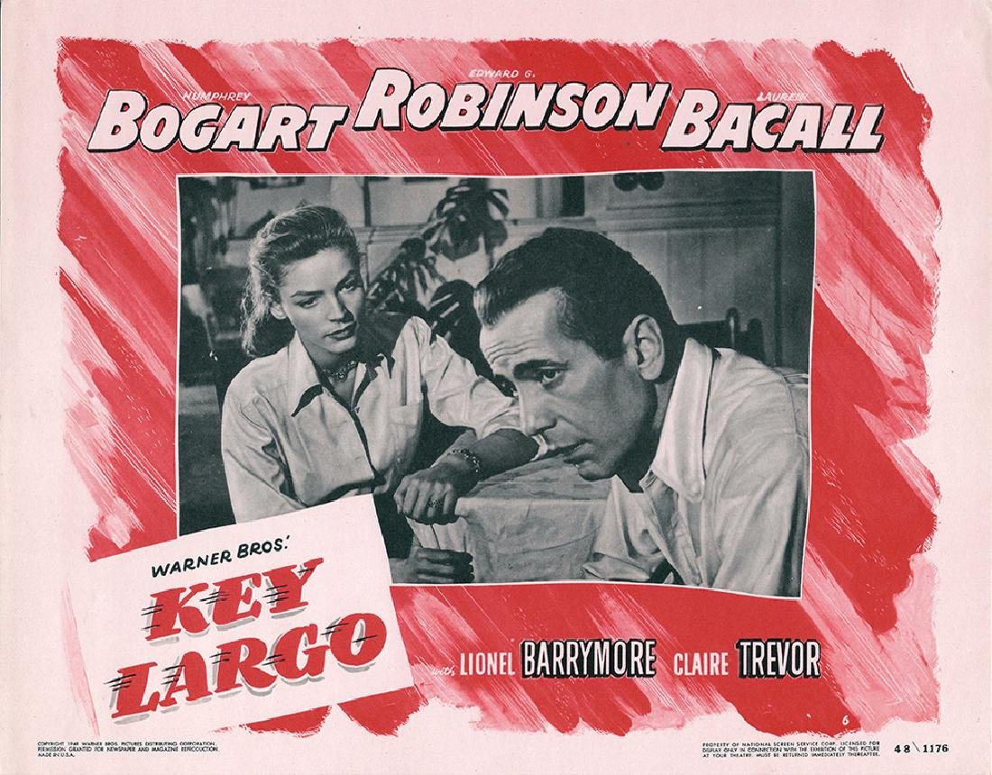 KEY LARGO (1948) FILM NOIR LOBBY CARD/BOGART AND BACALL