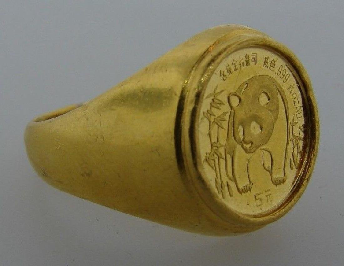 STUNNING 24k Yellow Gold Asian Panda Ring Circa 1986