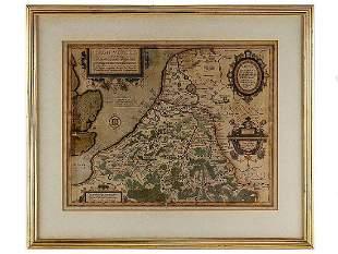 c1594 Julius Caesar Map Belgii Veteris Typus by