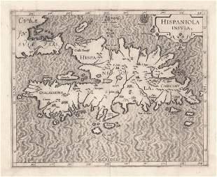 Wytfliet Key Early Map of Hispaniola 1597