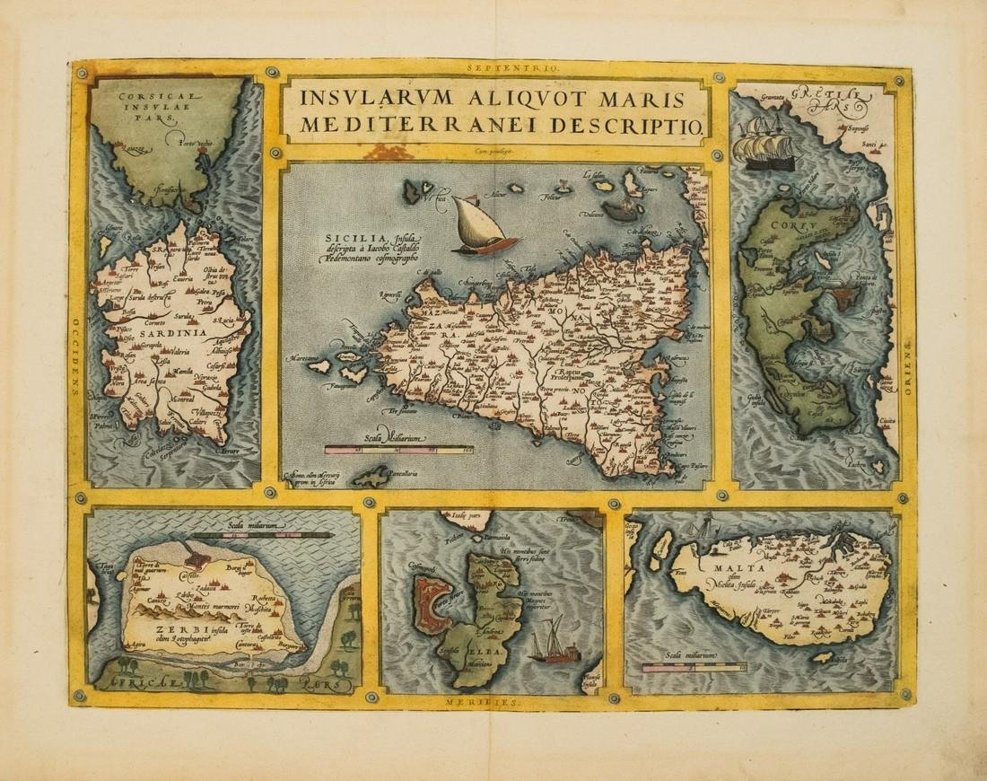 1579 Ortelius Map of Six Mediterranean Islands --