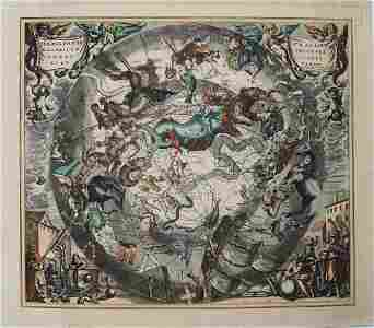 1708 Cellarius Celestial Map from Southern Hemisphere