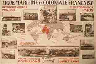 Early 1900s World Map of French Colonies -- Ligue