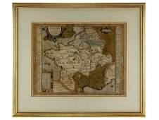 c1590 Julius Caesar Gallia Vetus Map of Gaul by