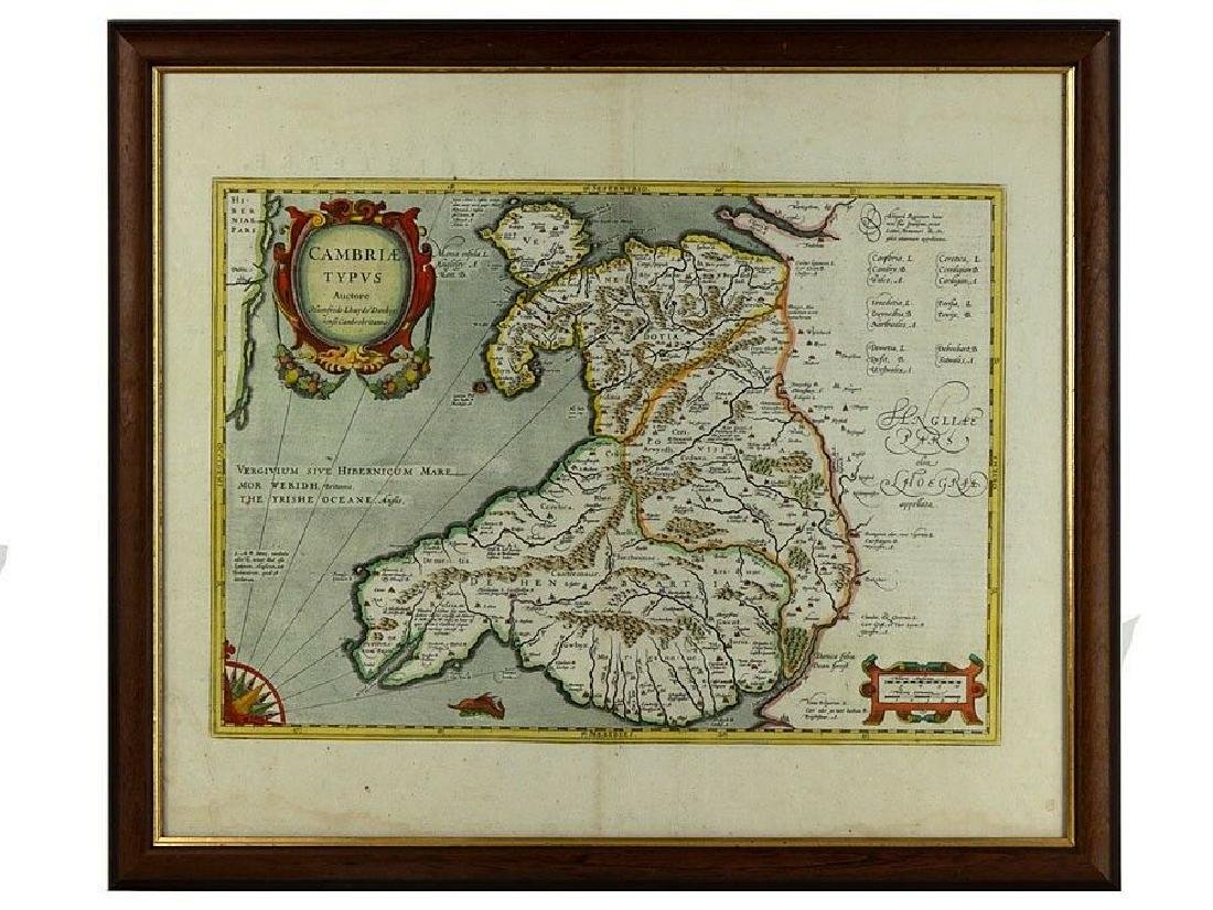 c1573 Earliest Printed Map of Wales Cambriae Typus by