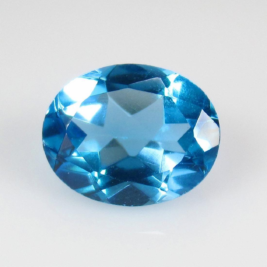 3.22 Ct Genuine Swiss Blue Topaz 10X8 mm Oval Cut