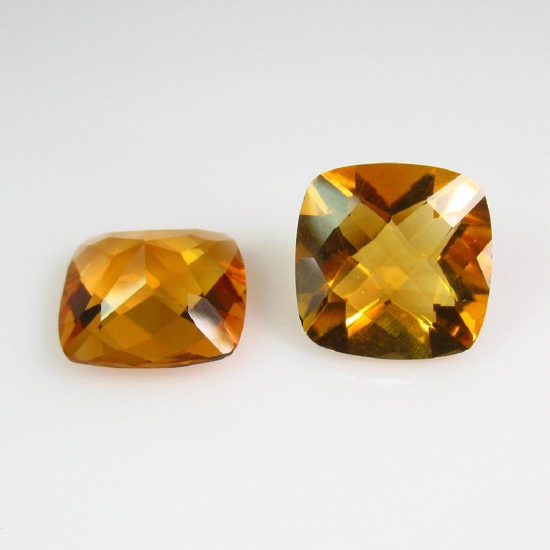 6.76 Ct Genuine Madeira Citrine Square Matching Pair