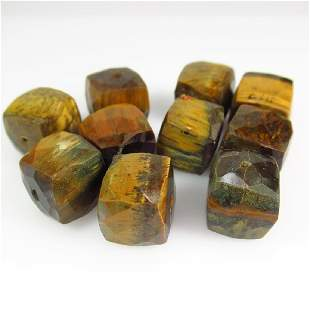 7014 Ctw Natural 10 Drilled Tigers eye Square Beads