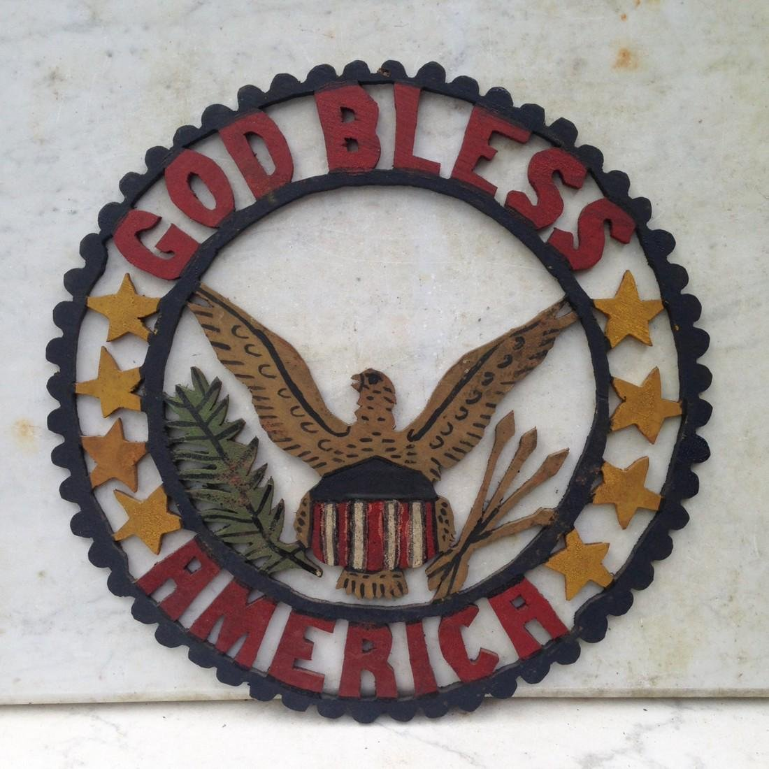 1940's Patriotic Folk Art -- Cut Out of One Piece