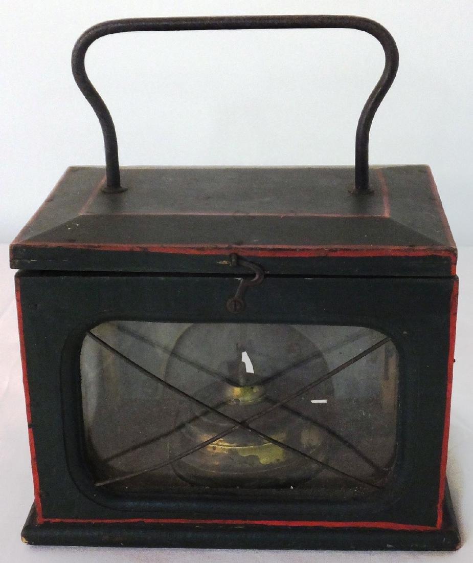 Pine Paint Decorated Wagon Kerosene Lantern