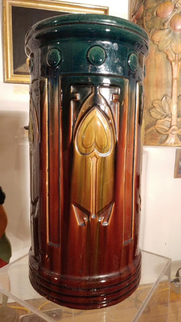 Early Roseville umbrella stand in blended glaze