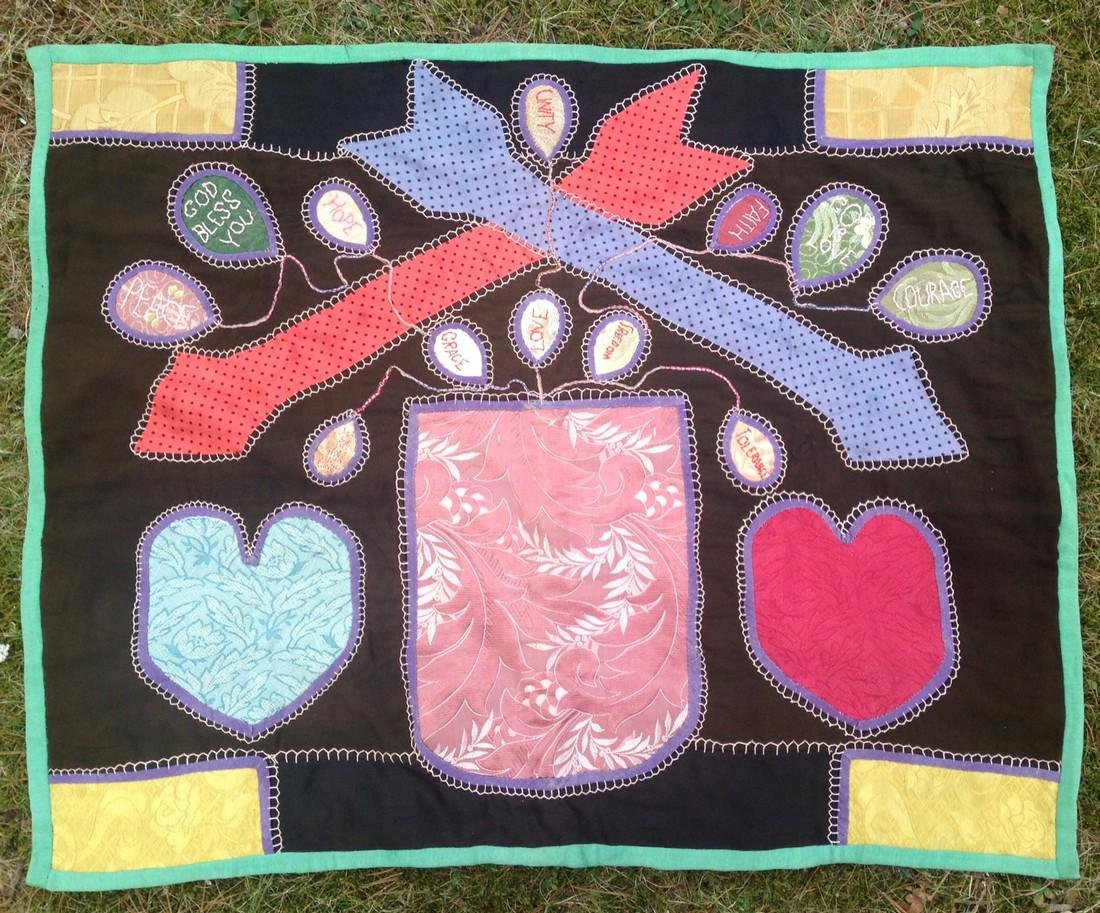C1940 folk art quilt/hanging with hearts