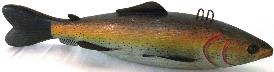 Rainbow Trout Wooden Spear Fishing Decoy