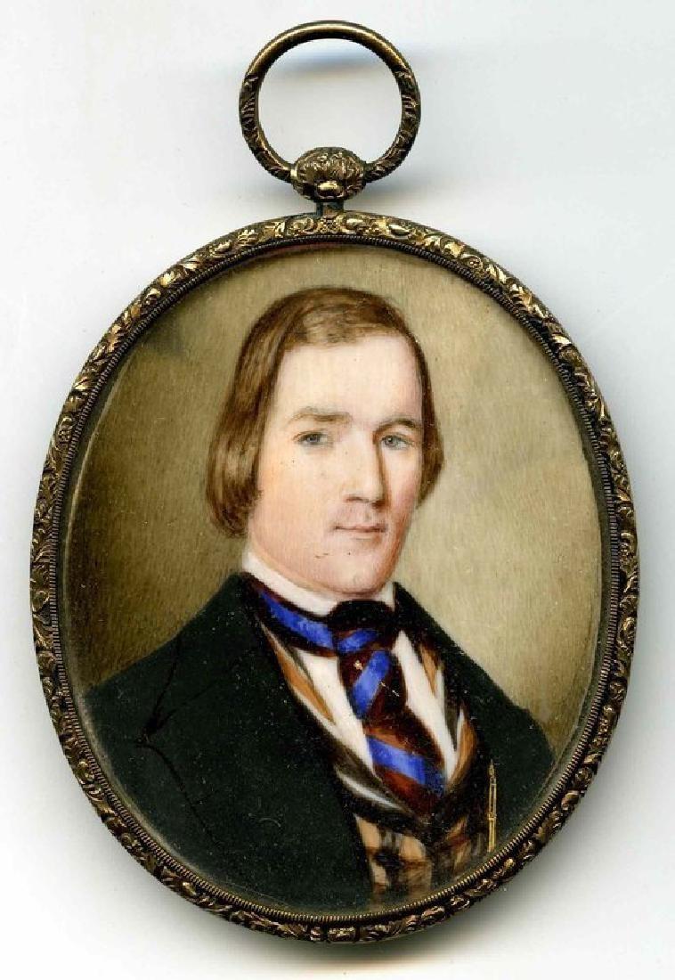 Striking American Miniature Portrait of Gent c1840