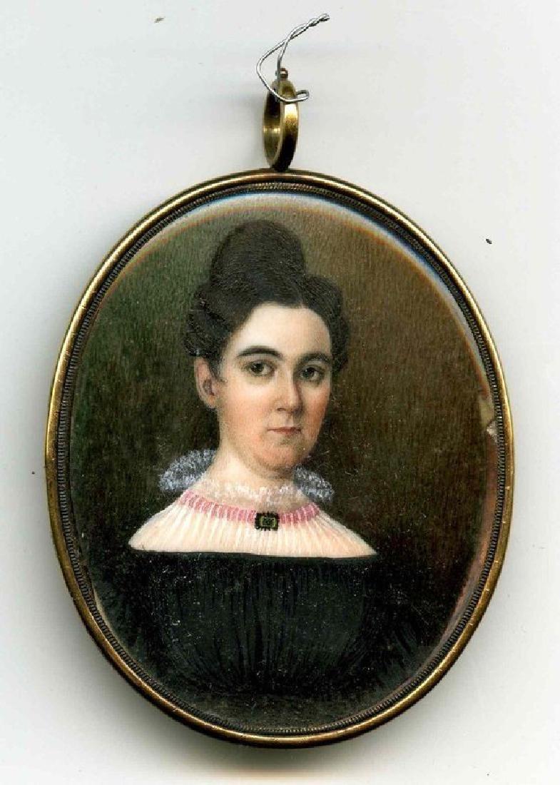 Beautiful American Miniature Portrait of Woman c1830