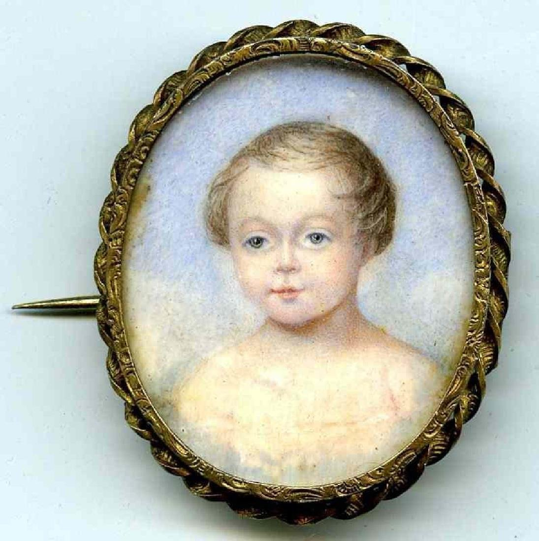 Miniature Painting of Young Child c1830
