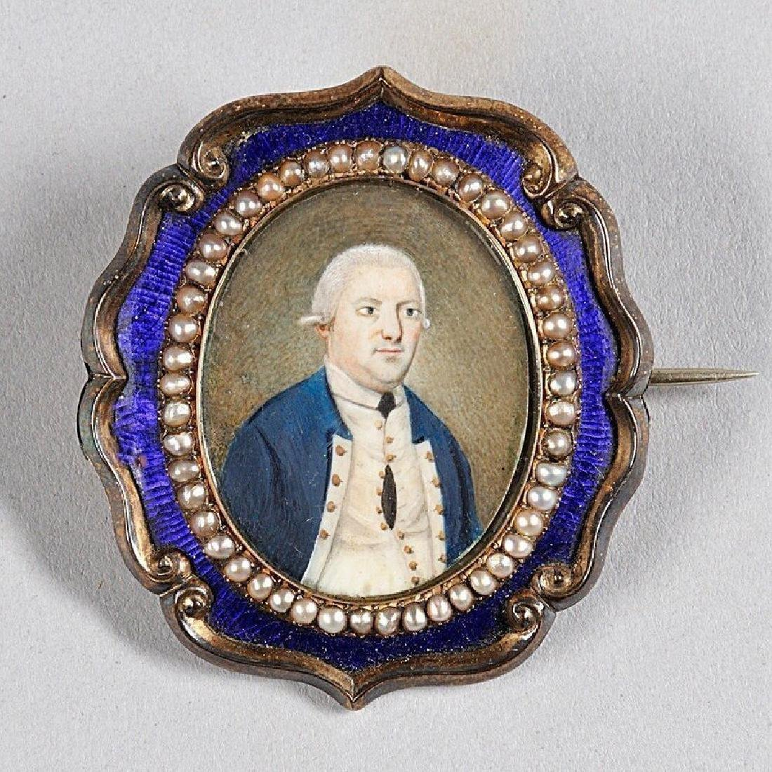 Striking Miniature Portrait of a Captain c1790