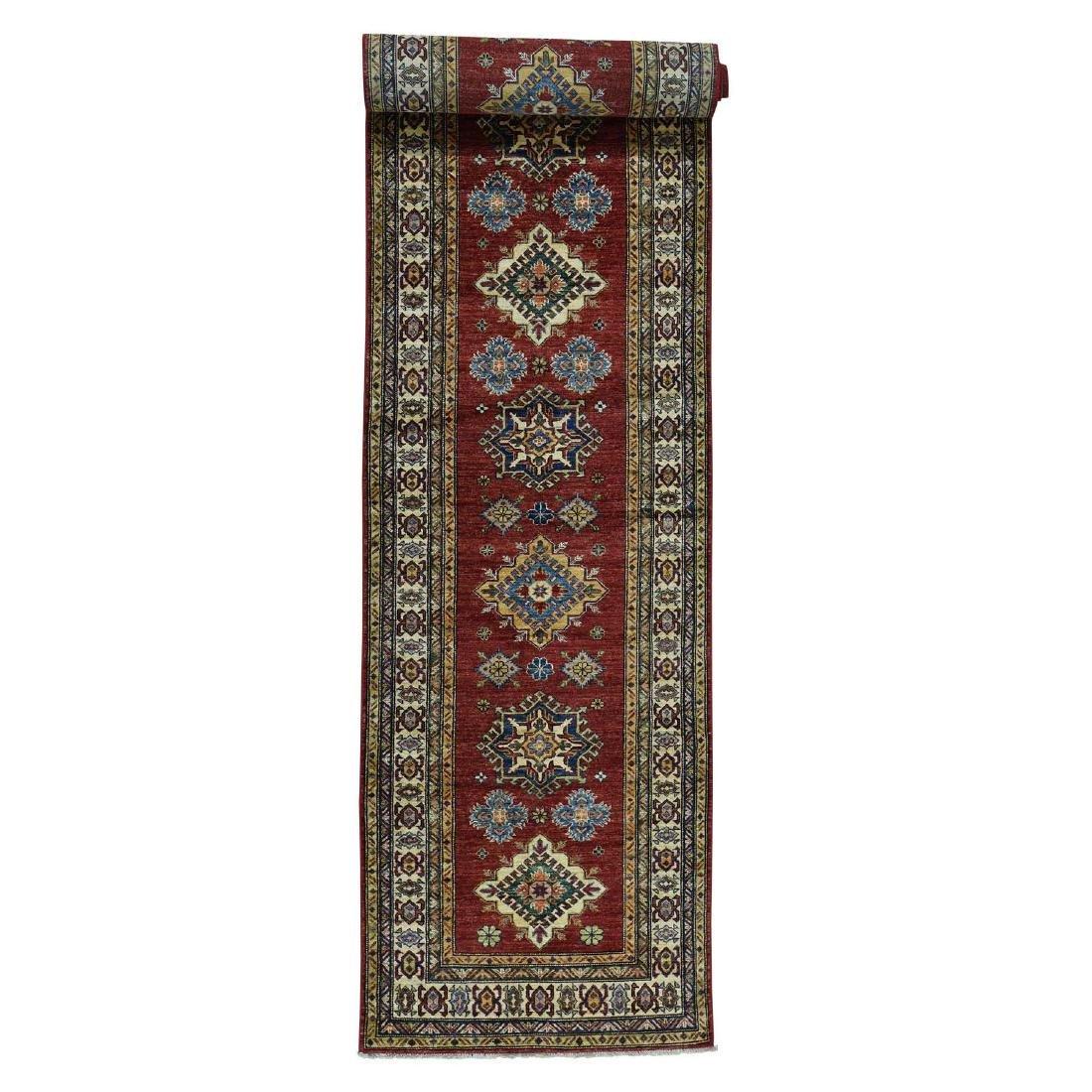 Hand-Knotted Pure Wool Super Kazak Oriental Wide Runner