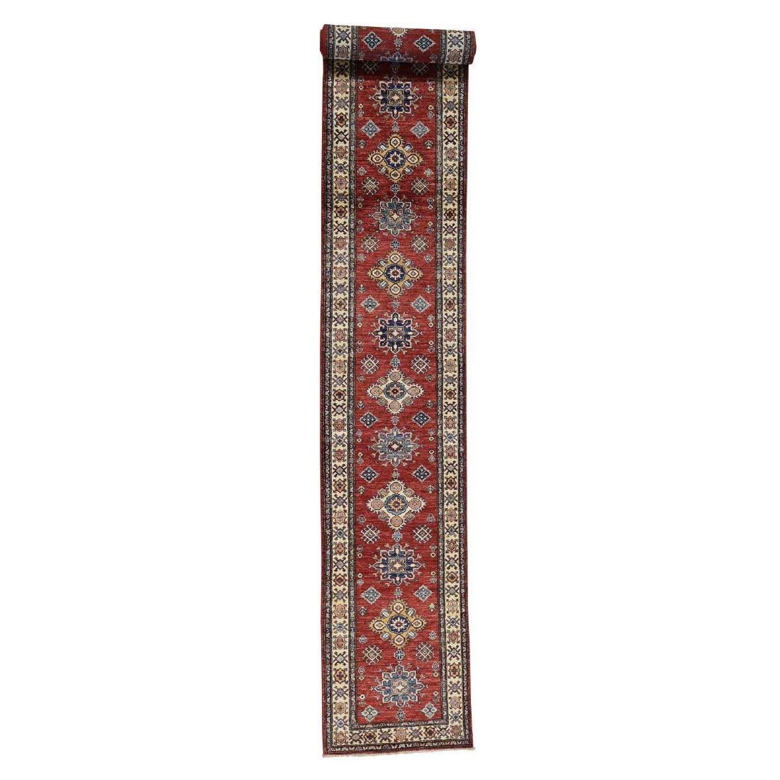 Hand-Knotted Pure Wool Red Super Kazak XL Runner Rug