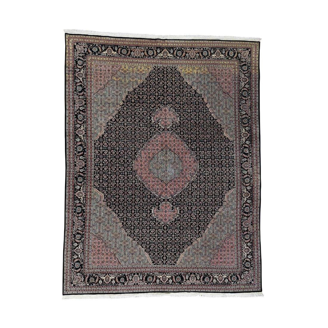 Tabriz Mahi Wool and Silk 250KPSI Hand-Knotted Rug