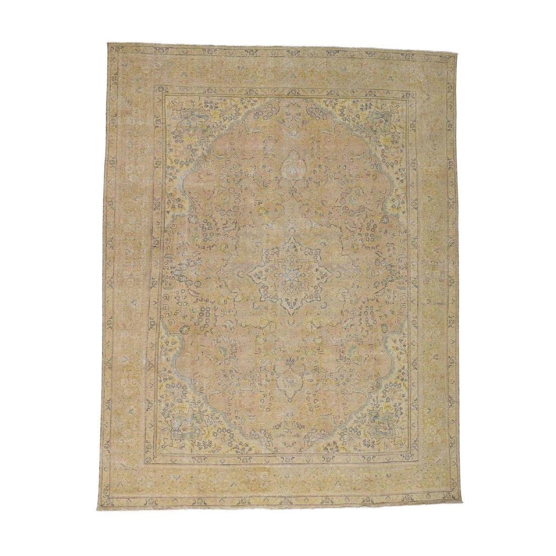 White Wash Vintage Tabriz Hand-Knotted Oriental Rug