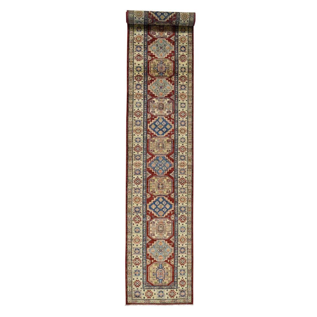 Hand-Knotted Pure Wool XL Red Super Kazak Runner Rug