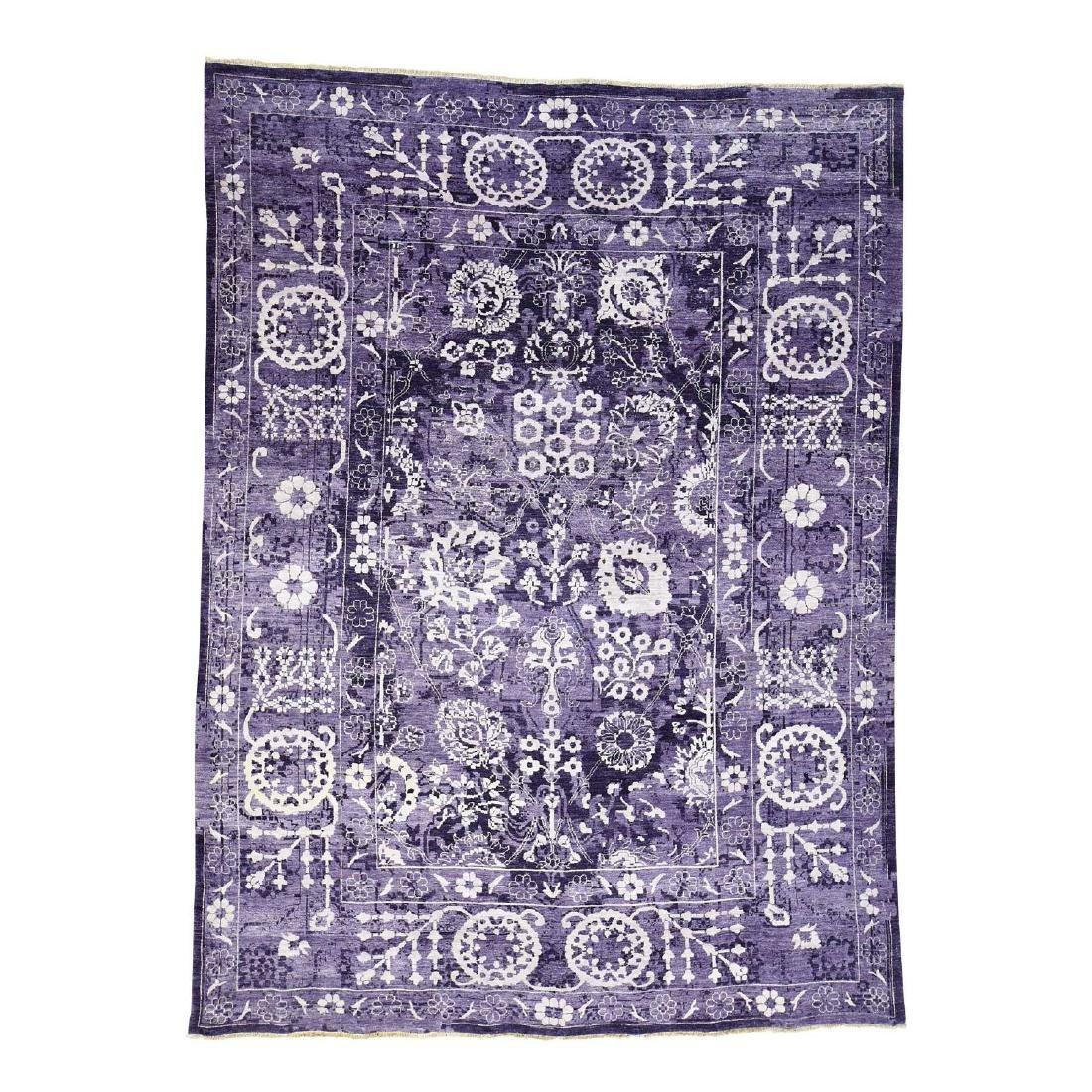 Purple Wool And Silk Hand-Knotted Tone on Tone Tabriz