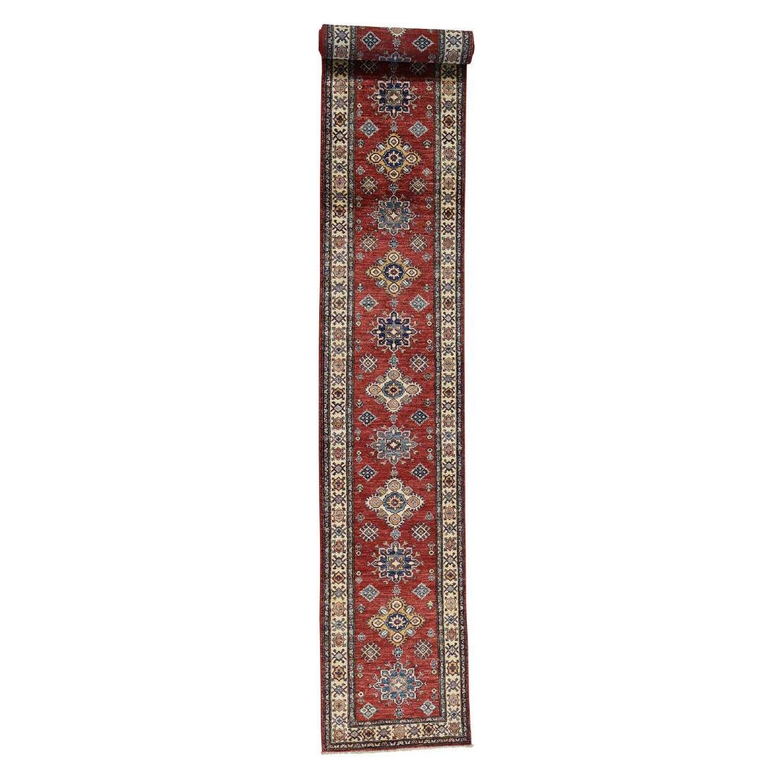 Red Super Kazak XL Runner Hand-Knotted Pure Wool Rug