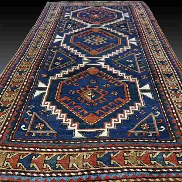 Impressive antique 1880s Kazak rug - 7.5 x 4.3 -