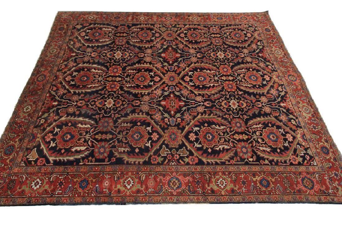 Rare Antique Heriz Rug Persian Serapi Carpet Tribal