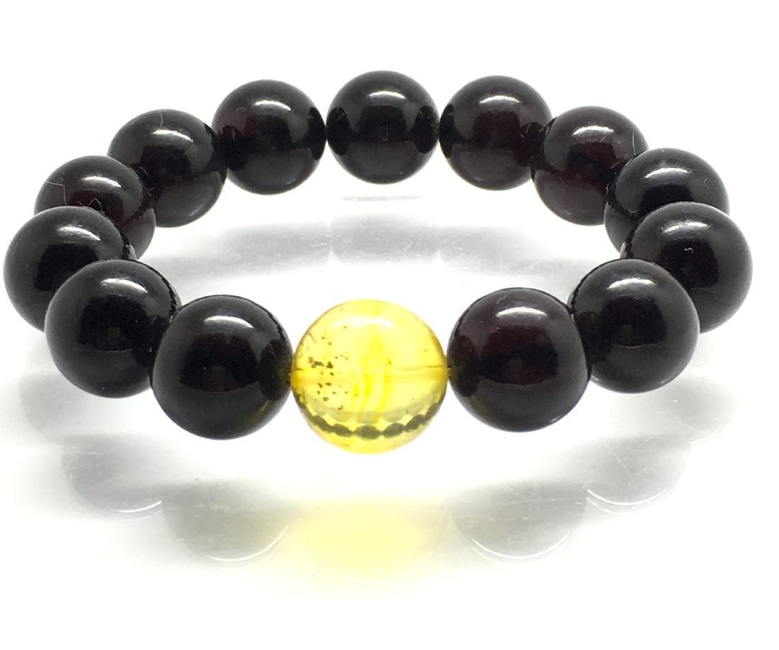 Baltic amber Bracelet Cherry&Lemon beads