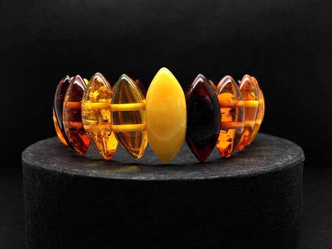 Natural Baltic Amber bracelet mix colour beads
