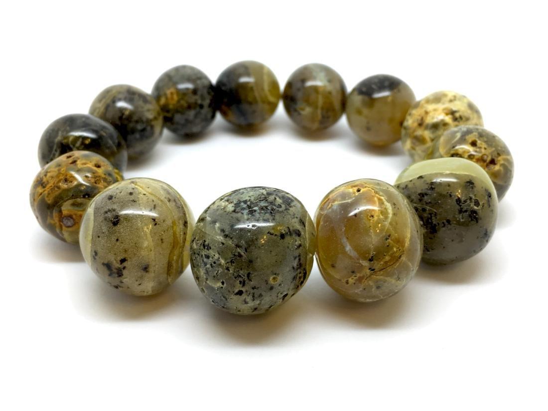 Rare Baltic amber Bracelet Light Marble Colour 35.8 gr