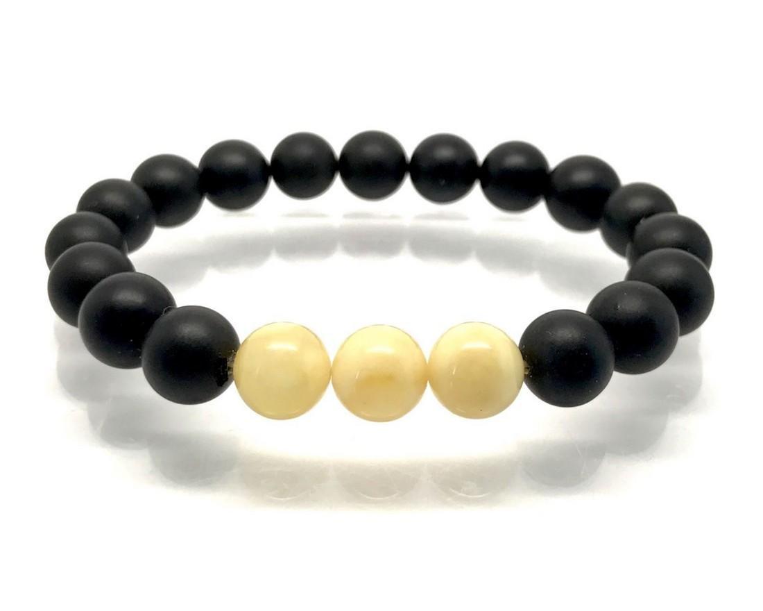 Baltic amber Bracelet beads black&white